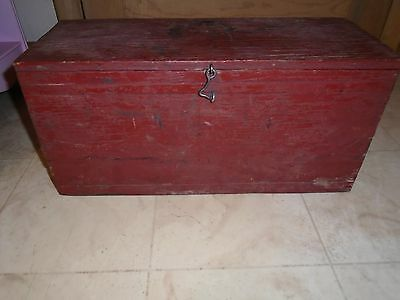 VINTAGE Wood Wooden Box red paint primative Folk Art