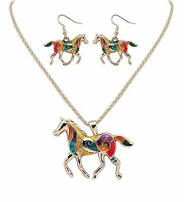 Horse Necklace, Pendant, Earrings Jewelry Set Equestrian Pony Drop