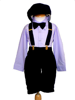 Toddler Boys Knickers Vintage Outfit with Hat,  Lilac/Black, 2T,3T,4T