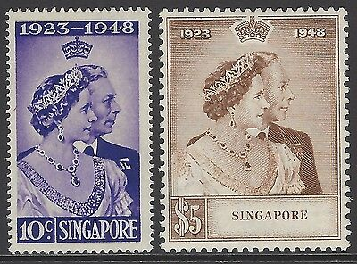 SINGAPORE 1948 Royal Silver Wedding set, VF fresh mint ($5 MNH/10cMLH), SG#31-32