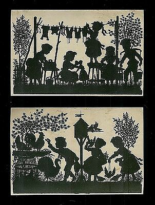Superbly Detailed Silhouette Scenes-2 Victorian Trade Cards