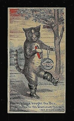 Mr. Cat Prepares To Shine His New Boots-Victorian Trade Card-Shoe Blacking