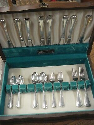 LARGE 62pc Service for 8 vintage-antique LADY HAMILTON Community Silverplate