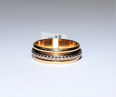 Solid 9k Yellow & White Gold Spinner Ring 4.9gm Wedding 6mm Wide Two Tone 744785