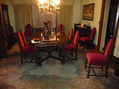 Art Deco Walnut DINING ROOM SET 12 Chairs Dining Table China Cabinet 2 Servers