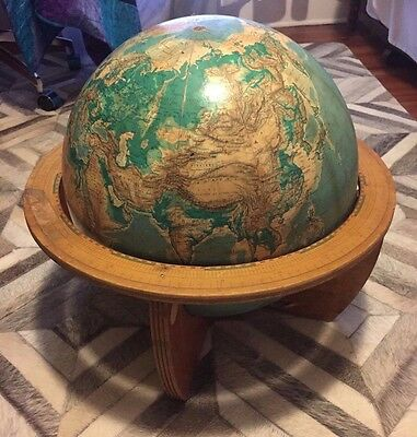 Rare Mid Century Vintage Cartocraft 16 Inch School Globe with Wood Stand