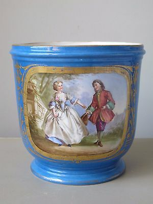 Antique 19th Century Sevres Style French Porcelain Jardiniere Cache Pot Planter