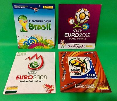 Panini Lot of 4 Soccer Albums Euro 2008 & 2012 World Cup 2010 & 2014 Excellent