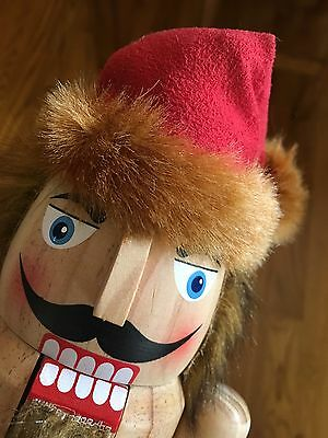 "Nutcracker All Wood Natural Finish Rustic Christmas Nutcracker 15"" Tall"