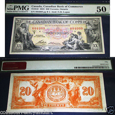 1935  $20 Canadian Bank of Commerce  PMG 50 au