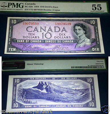"DEVILS FACE, ,$10 1954, Bank of Canada ,PMG 55 ,""Devil's Head"" series ! AU"