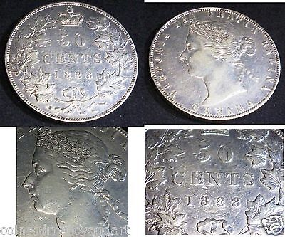 Obverse 2 ,1888 Canada 50 Cents Silver  . Queen Victoria Glorious Coin