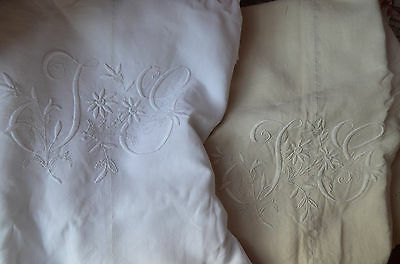 Pair of antique French hand embroidered JG monogrammed pure linen dowry sheets
