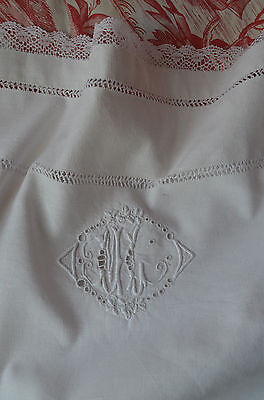 Antique hand embroidered pure linen pillow case ML monogram, lace border
