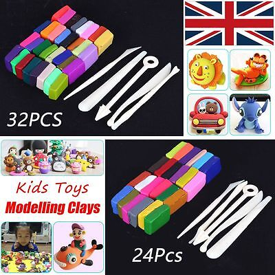 32 Colour Oven Bake Polymer Clay Block Modelling Moulding Sculpey+Tools set Kits
