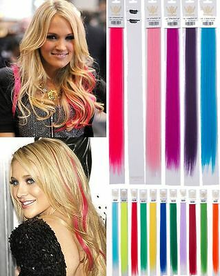 Girls Women'S Two Highlight Clip In Straight 20'' Bright Colours Hair Extension