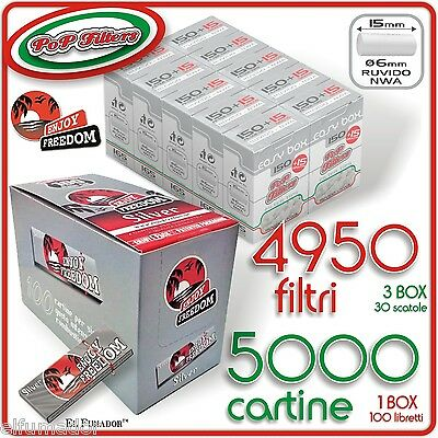 5000 Cartine ENJOY FREEDOM SILVER CORTE +  4950 Filtri POP FILTERS SLIM Ruvidi