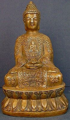 Antique Chinese Ming Dynasty Engraved Bronze Buddha On Lotus Throne Statue