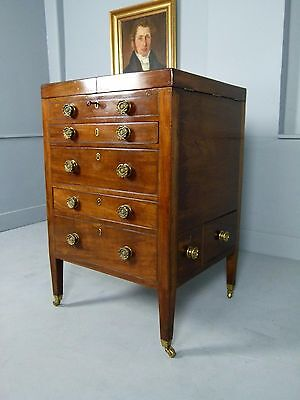 Unusual Georgian Gentleman`s Dressing Table Secretaire Chest Commode
