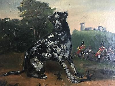 Antique Oil Painting Of A Dog , French Folk Art 19th Century