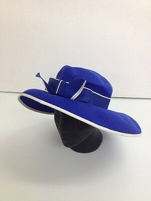 Jacques Vert - Blue with Bow + White Trim Ladies Formal Hat