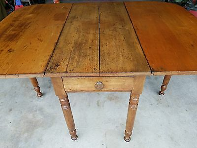 Gate Leg Drop Leaf Table, Antique Early 19th Century Farm Table