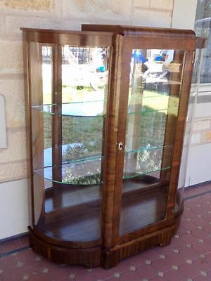 c.1940's Noblett & Sons Art Deco Display Cabinet Mirror Backed Glass Shelves