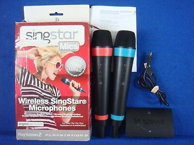 ps3/ps4 WIRELESS SINGSTAR MICS X2 Microphones BOXED Official + USB Hub Receiver