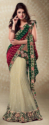 Indian Bollywood Designer Embroidery Party Wear Wedding Bridal Lehenga Saree new