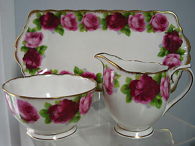 Vintage Royal Albert Creamer & Sugar Bowl & Tray ,Old English Rose,England