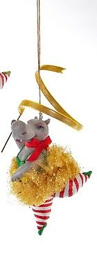 Katherine's Collection Hippo ribbon dancer ornament ballerina 28-628106 gold