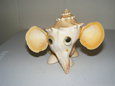 ELEPHANT FIGURINE MADE FROM SEA SHELLS  and Conch shell One of a Kind