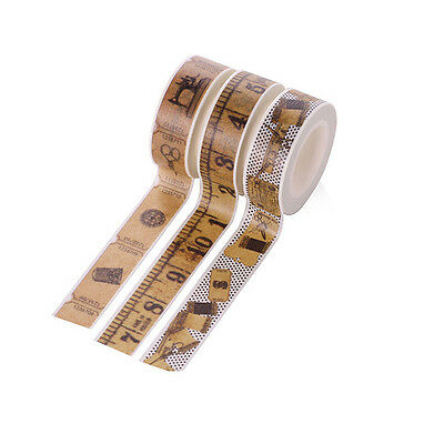 3 Vintage Style Washi Tape DIY Masking Paper Tape Decorative Sticker Tape 10M