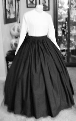 Civil War Dress~Victorian Style Lovely 100% Cotton  Black Mourning Or Day Skirt