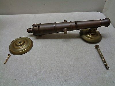 Antique Harvin Brass Cannon Door Knocker With Strike Plate Great Patina