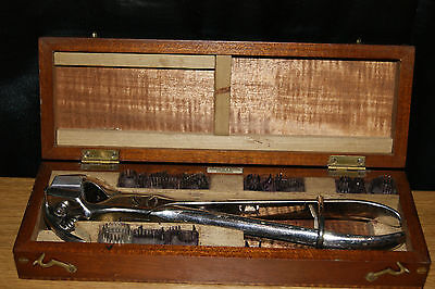 Stunning Vintage Arnold And Sons Cased Pig Tattoo Set Complete Numbers And A B