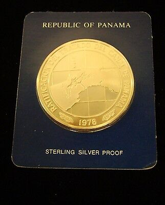 1978 PANAMA 10 BALBOAS STERLING SILVER PROOF Franklin Mint - Treaty Ratification