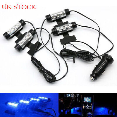4 X 3LED Car Charger Footwell Light Neon Lamp Glow Interior Decoration Blue UK