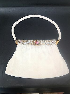 Vintage Langlois and Jargeais Evening Purse / Bag White Glass Beaded - FRANCE