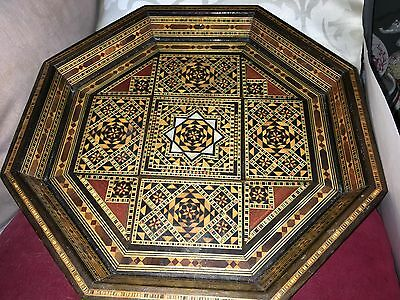 Syrian Inlaid Damascus Wooden Tray of Octagonol Shape Mother of Pearl Inlay