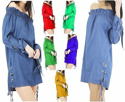 Women Off Shoulder Mini Dress Bardot String Frill Swing Shirt Long Cuffed Tops