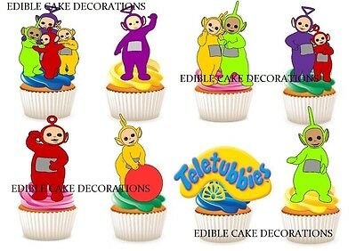 30 TELETUBBIES STAND UP Cupcake Fairy Cake Topper Edible Paper Decorations