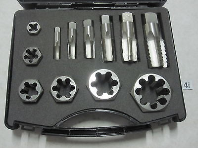 Drillco 2700C Series 12 Piece Carbon Steel Pipe Tap and Die Set, Uncoated (Brigh