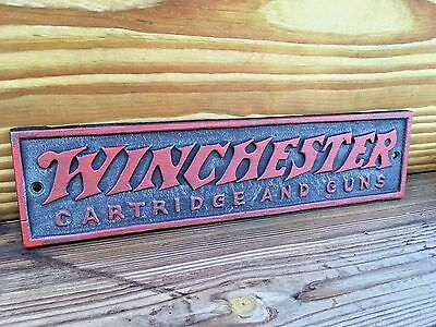 Winchester Cartridge And Guns Cast Iron Wall Plaque Sign