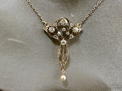 Diamant-Collier, 1,43 ct, Belle Epoque, 585 Gold, Anfang 20. Jhd. ,