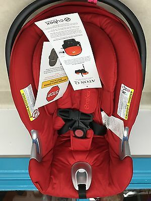 Cybex Platinum Aton Q Infant Car Seat in Red with Base