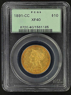 1891-CC Eagle $10 Gold Liberty PCGS XF-40 Old Green Holder -153915