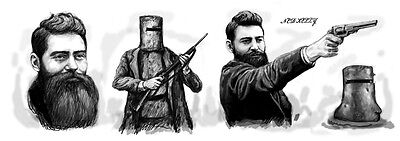 Ned Kelly Group Long Drawing Art Poster 85x30cm