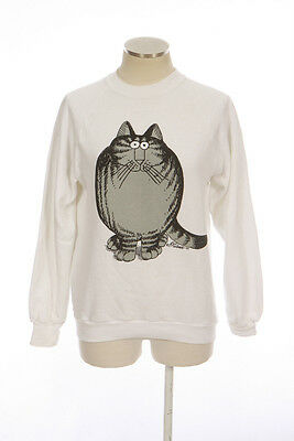 Vtg 70s CRAZY SHIRT White Gray B Kliban Cat Cartoon Graphic Sweatshirt Top Sz S