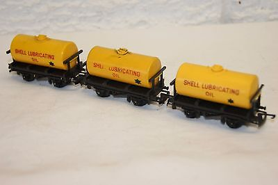 TT gauge 3mm GOOD/EXCELLENT 3x Triang Tanker Wagon Shell Lubricating Oil Yellow